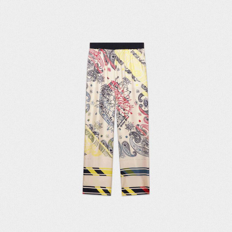 Golden Goose - Silk joggers with floral paisley motif in  image number null