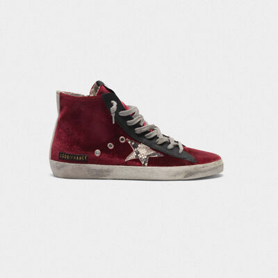 Francy sneakers in velvet with snake-print star