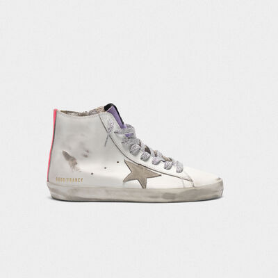 Sneakers Francy bianche in pelle con bande fuxia