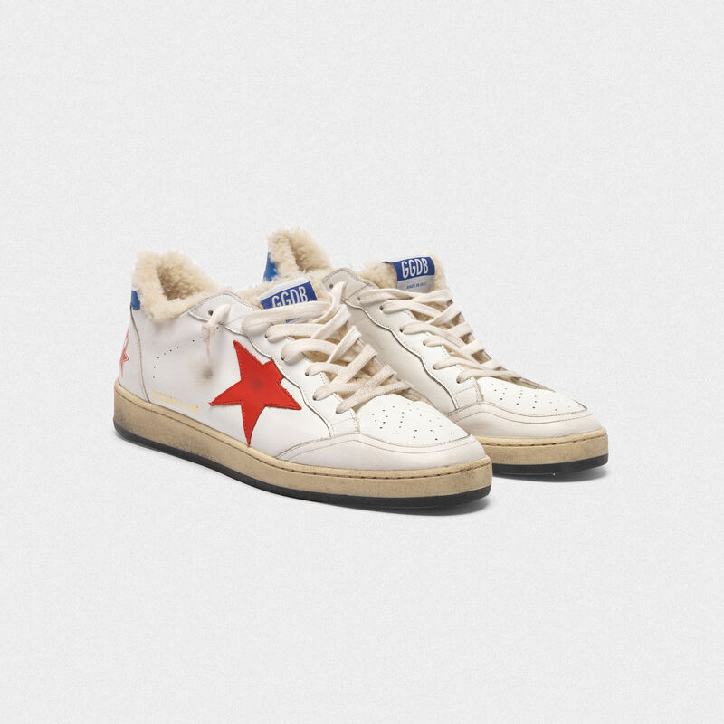 Golden Goose - Ball Star sneakers in leather with shearling insert  in  image number null