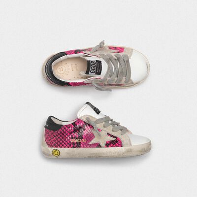White and fuchsia snakeskin-print Superstar sneakers