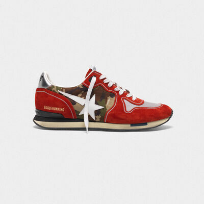 Red Running sneakers in suede with camouflage detail