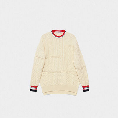 Kaori crew neck sweater with relaxed fit and contrasting feature details