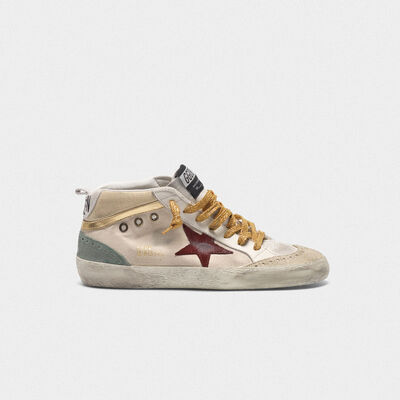 Sneakers Mid-Star in canvas con inserti dorati e stella rossa