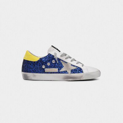 Superstar sneakers with blue glitter and yellow heel tab
