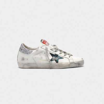 Superstar sneakers with snake-print star and glittery heel tab