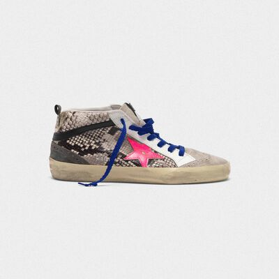 Mid Star sneakers in snakeskin print leather with fuchsia star