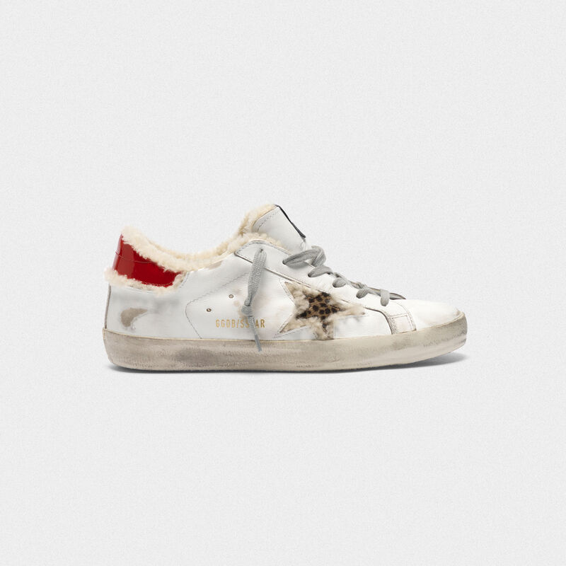 Golden Goose - Sneakers Superstar con stella in cavallino e inserto in shearling in  image number null