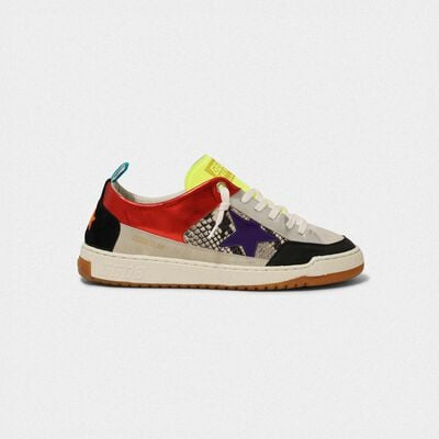 Red Yeah! sneakers with purple star and snakeskin-print insert