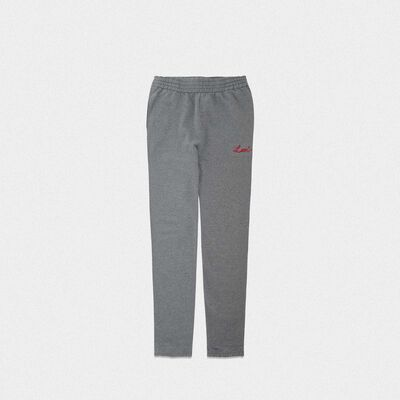 Grey Hamm joggers with Love embroidery