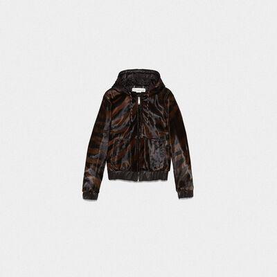 Oniyuri sweatshirt in zebra-print pony skin with hood