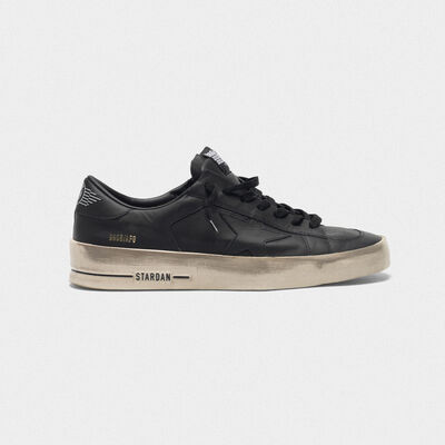 Stardan sneakers in total black leather with vintage finish
