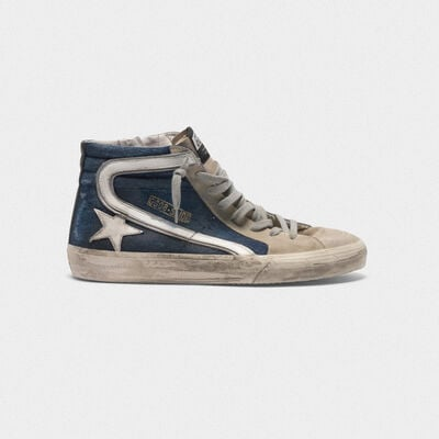Sneakers Slide in suede e denim
