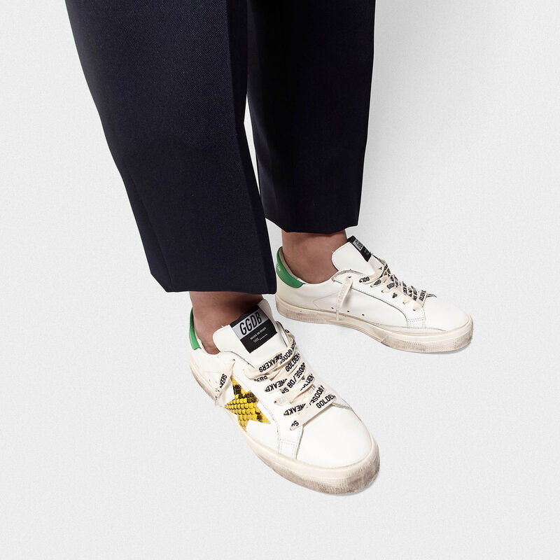 Golden Goose - May sneakers with snake-print star and green heel tab in  image number null