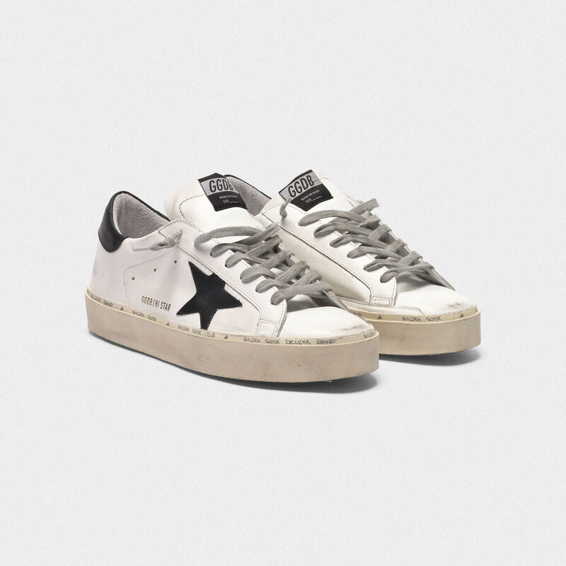 Golden Goose - Sneakers Hi Star in pelle con black star in  image number null