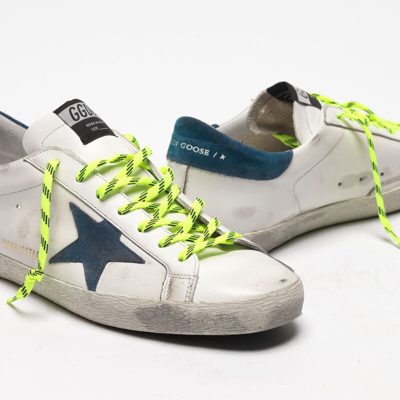 Golden Goose - White Superstar sneakers with fluorescent trekking laces in  image number null