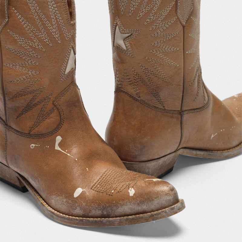 Golden Goose - Low Wish Star boots with honey-coloured vegetable tanning in  image number null