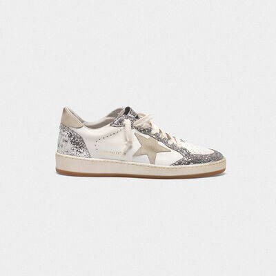 Ball Star sneakers in leather with glittery inserts