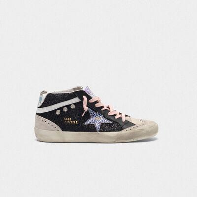 Sneakers Mid-Star nere con glitter e stella iridescente