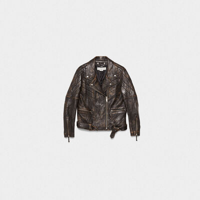 Yasu biker jacket in black leather with star and logo inspired by basketball