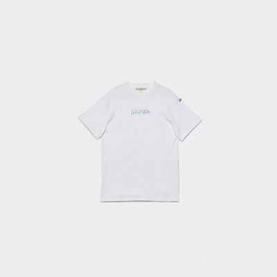 White Golden T-shirt with logo print