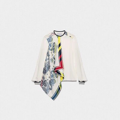 Eleanor silk shirt with multi-colour bandana print