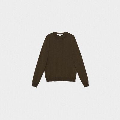 Shin round neck sweater in extrafine merino wool