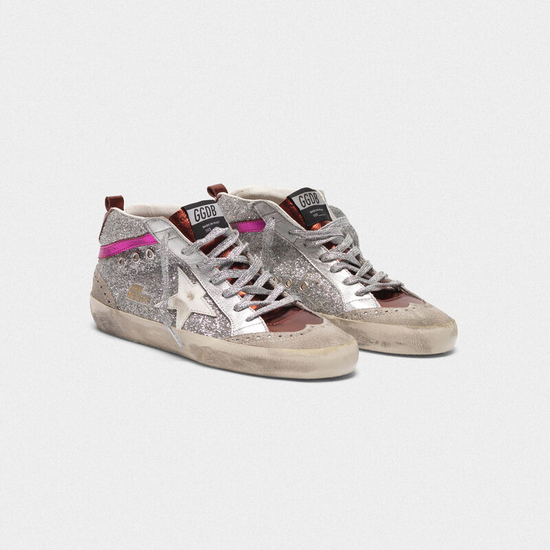 Golden Goose - Mid-Star sneakers in metallic leather and glitter in  image number null