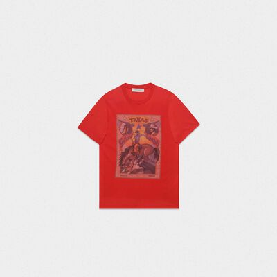 Red Oversized T-shirt with Texas rodeo print