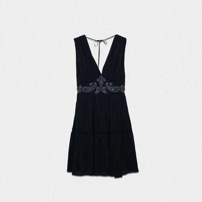 Black silk Aubree dress with decorative studs