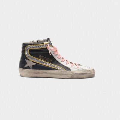 Sneakers Slide bicolore con virgola glitter e lacci rosa