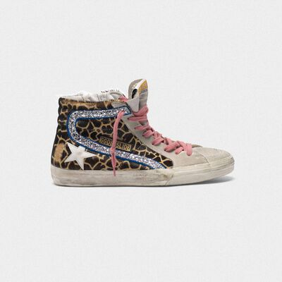 Slide sneakers in leopard-print pony skin