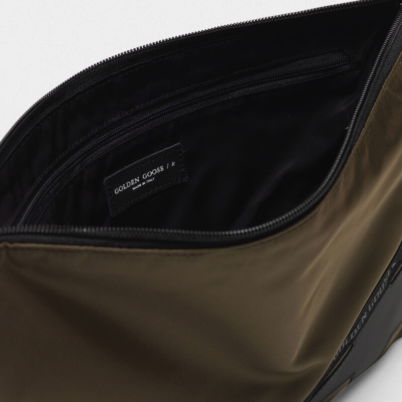 Golden Goose - Large military green nylon Journey pouch in  image number null