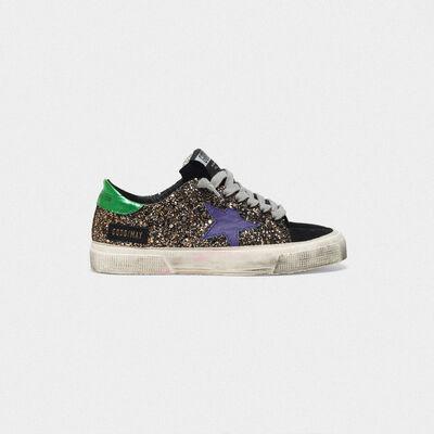 Sneakers May con glitter e talloncino laminato