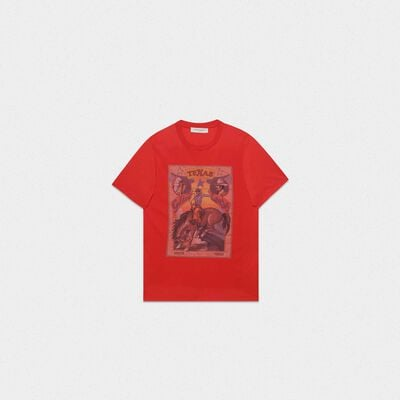 T-shirt Over rossa con stampa rodeo Texas