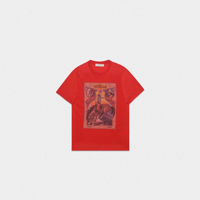 Golden Goose - Red Oversized T-shirt with Texas rodeo print in  image number null