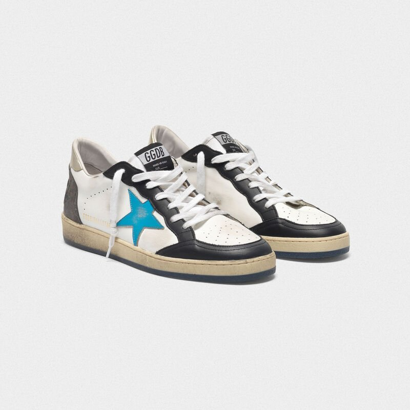 Golden Goose - Sneakers Ball Star in pelle  con talloncino metallizzato in  image number null