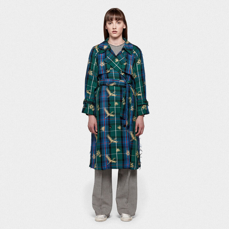 Golden Goose - Trench Masami in tartan con motivi in jacquard fil coupé in  image number null