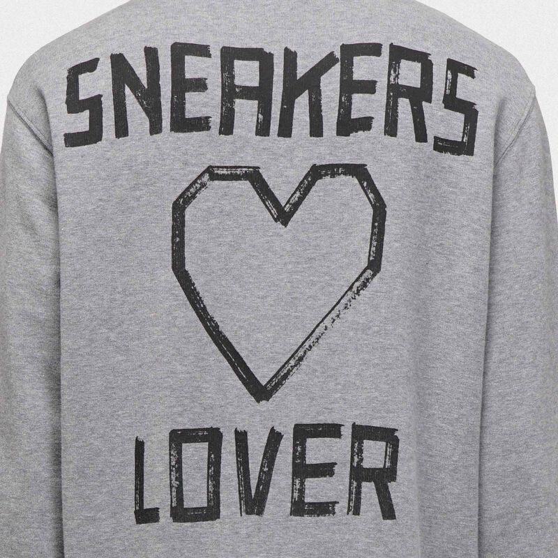 Golden Goose - Felpa Golden grigia con stampa sneakers lovers sul retro in  image number null