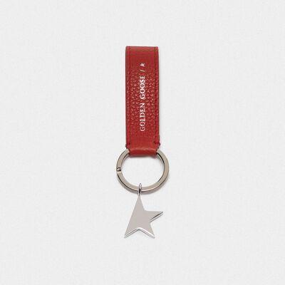 Portachiavi Star Keyring rosso con ciondolo argento