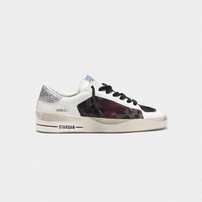 Golden Goose - Stardan sneakers with leopard-print star and glittery heel tab in  image number null