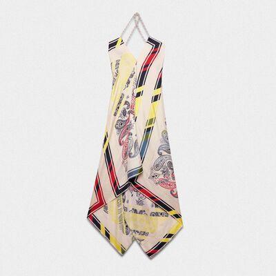Draped Blacket dress in silk twill with bandana print