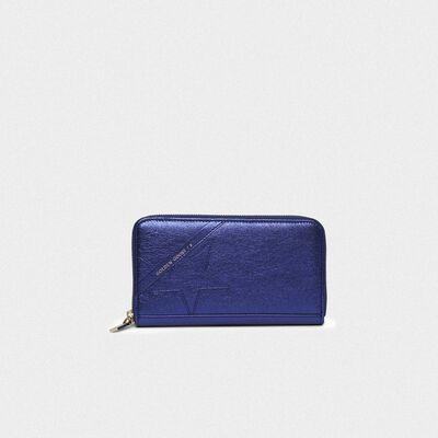 Portafoglio Star Wallet large blu metallizzato