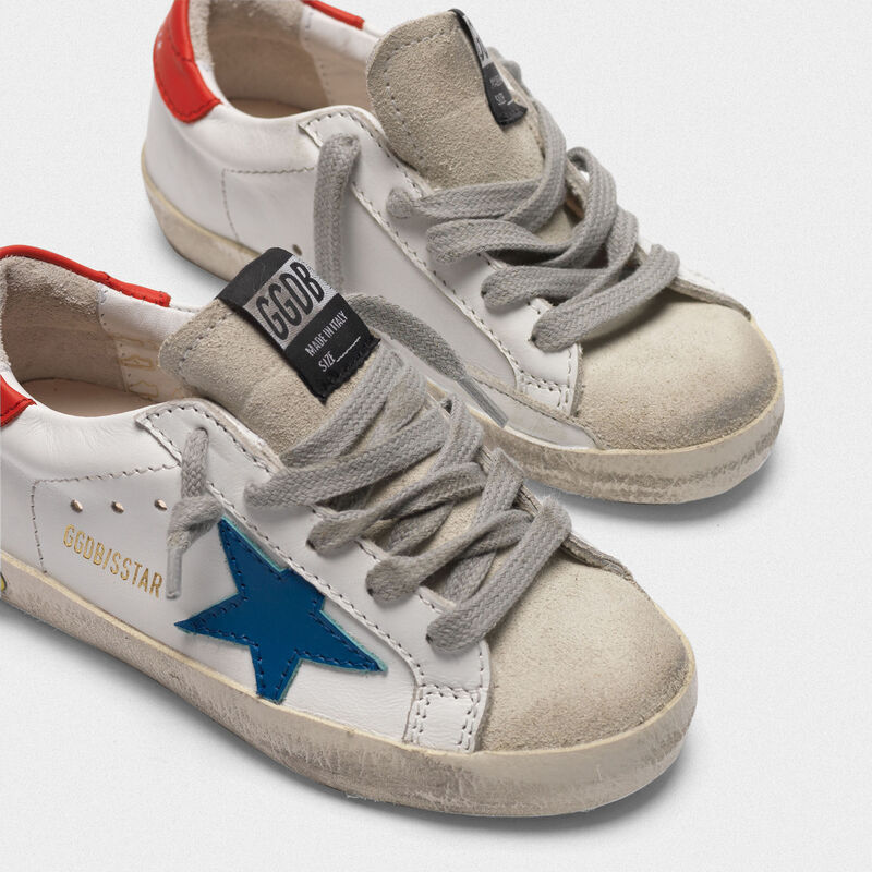 Golden Goose - Superstar sneakers with blue star and red heel tab in  image number null