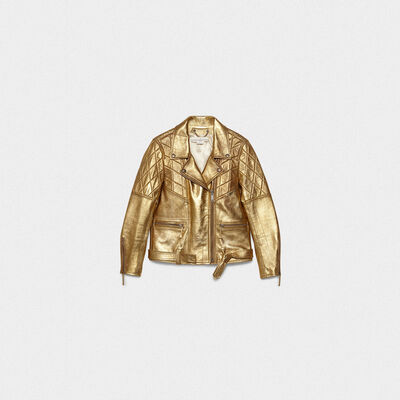 Yasu biker jacket in gold leather with star print