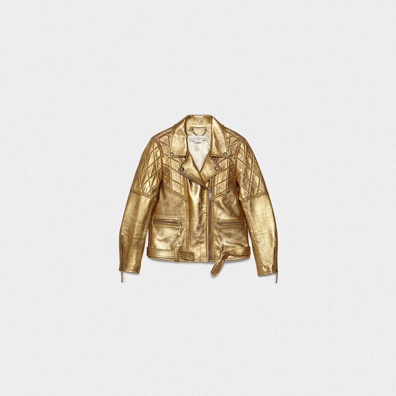 Golden Goose - Chiodo Yasu in pelle  dorata con stampa stella in  image number null