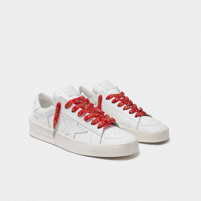 Golden Goose - Women's red velvet laces with gold laces print in  image number null