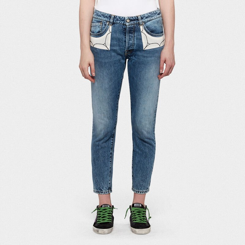 Golden Goose - Jolly jeans in cotton denim with embroidered patches in  image number null