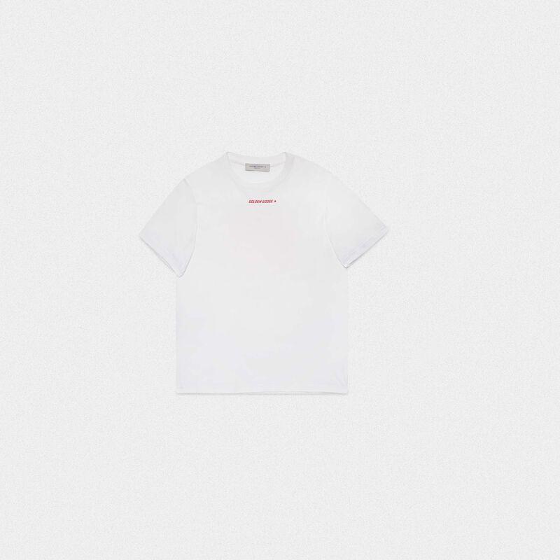 Golden Goose - T-shirt Golden bianca con stampa flag rossa sul retro in  image number null