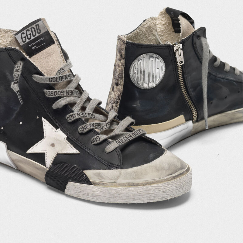 Golden Goose - Black patchwork Francy sneakers with multi-foxing in  image number null